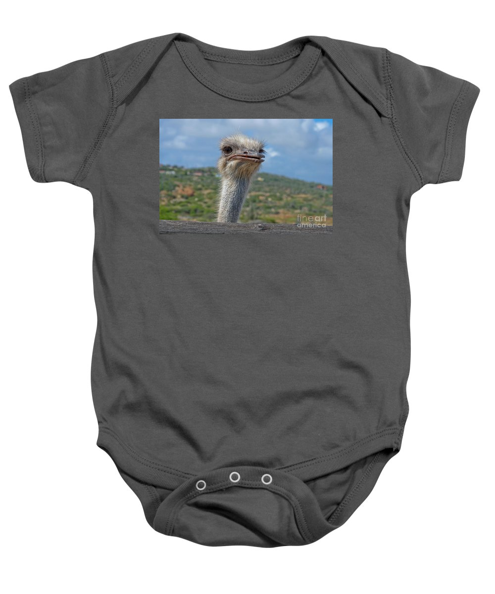 Ostrich Baby Onesie featuring the photograph Ostrich Head by Thomas Marchessault