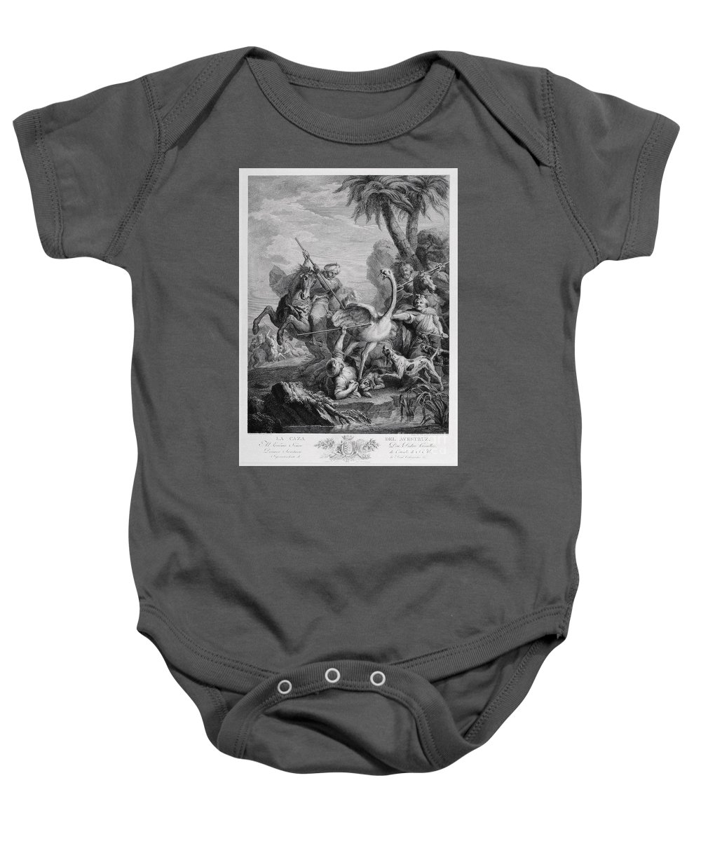 Blai Ametller Baby Onesie featuring the painting Ostrich Hunt by Celestial Images