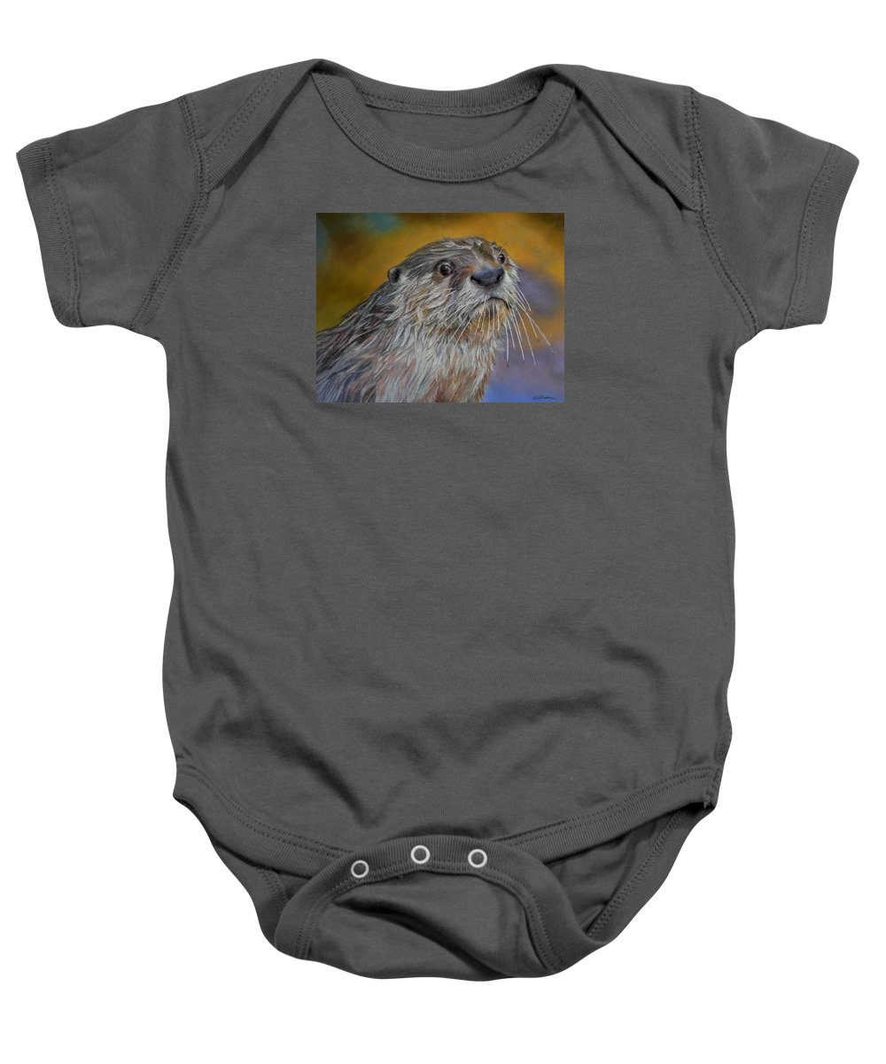 River Otter Baby Onesie featuring the painting Otter Or Not by Ceci Watson