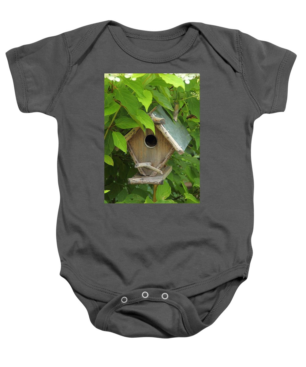 Birdhouse Baby Onesie featuring the photograph Our Humble Home by Allen Nice-Webb