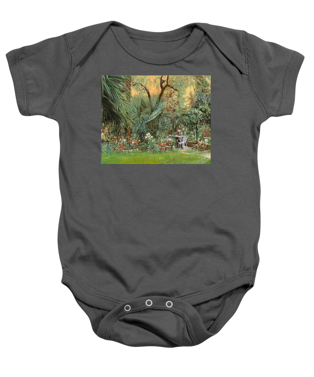 Garden Baby Onesie featuring the painting Our Little Garden by Guido Borelli