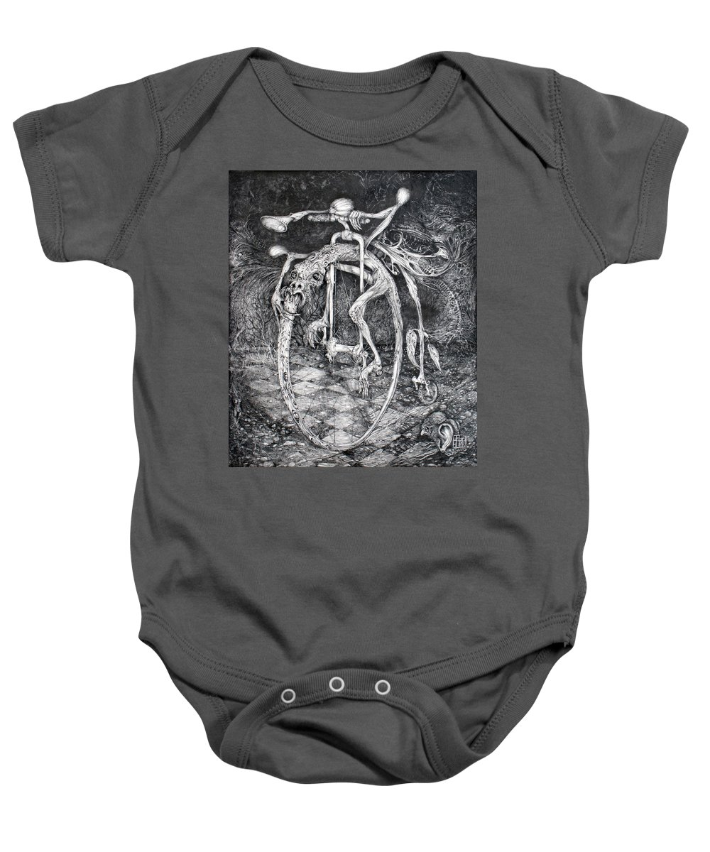 Ouroboros Baby Onesie featuring the drawing Ouroboros Perpetual Motion Machine by Otto Rapp