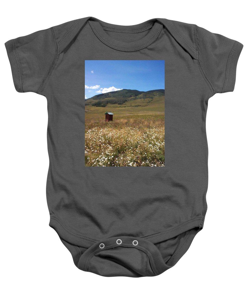 Charity Baby Onesie featuring the photograph Out House by Mary-Lee Sanders