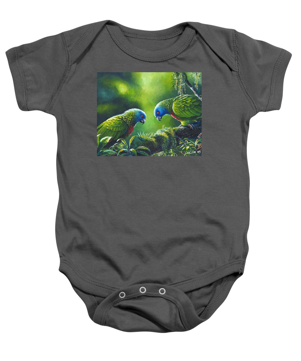 Chris Cox Baby Onesie featuring the painting Out On A Limb - St. Lucia Parrots by Christopher Cox