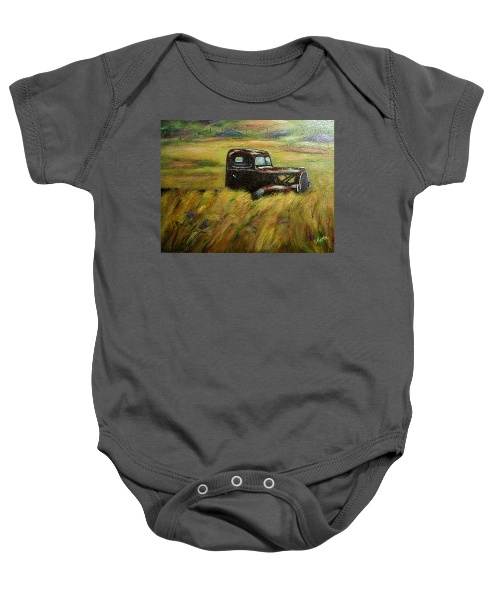 Vintage Truck Baby Onesie featuring the painting Out To Pasture by Gail Kirtz