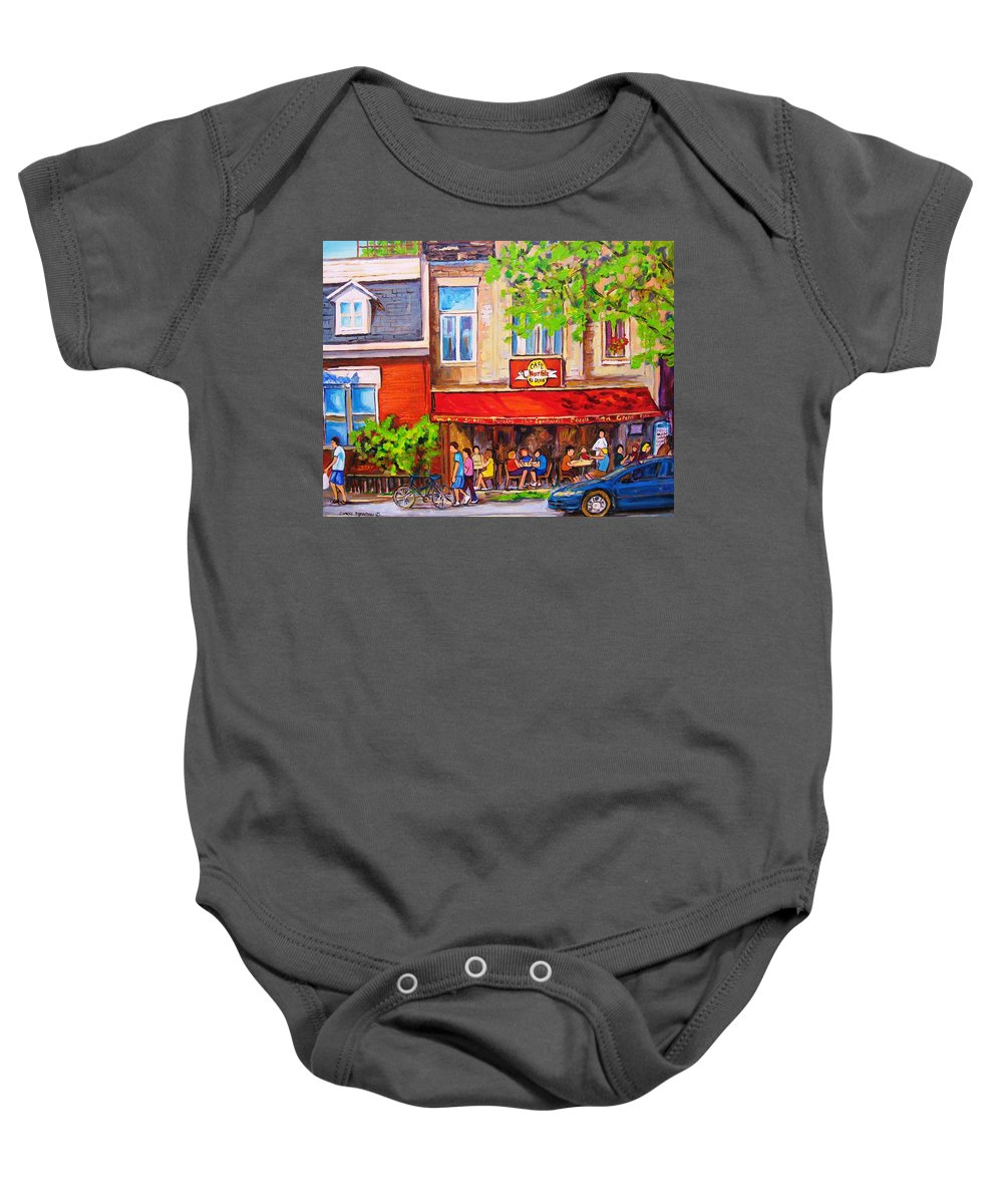 Montreal Baby Onesie featuring the painting Outdoor Cafe by Carole Spandau