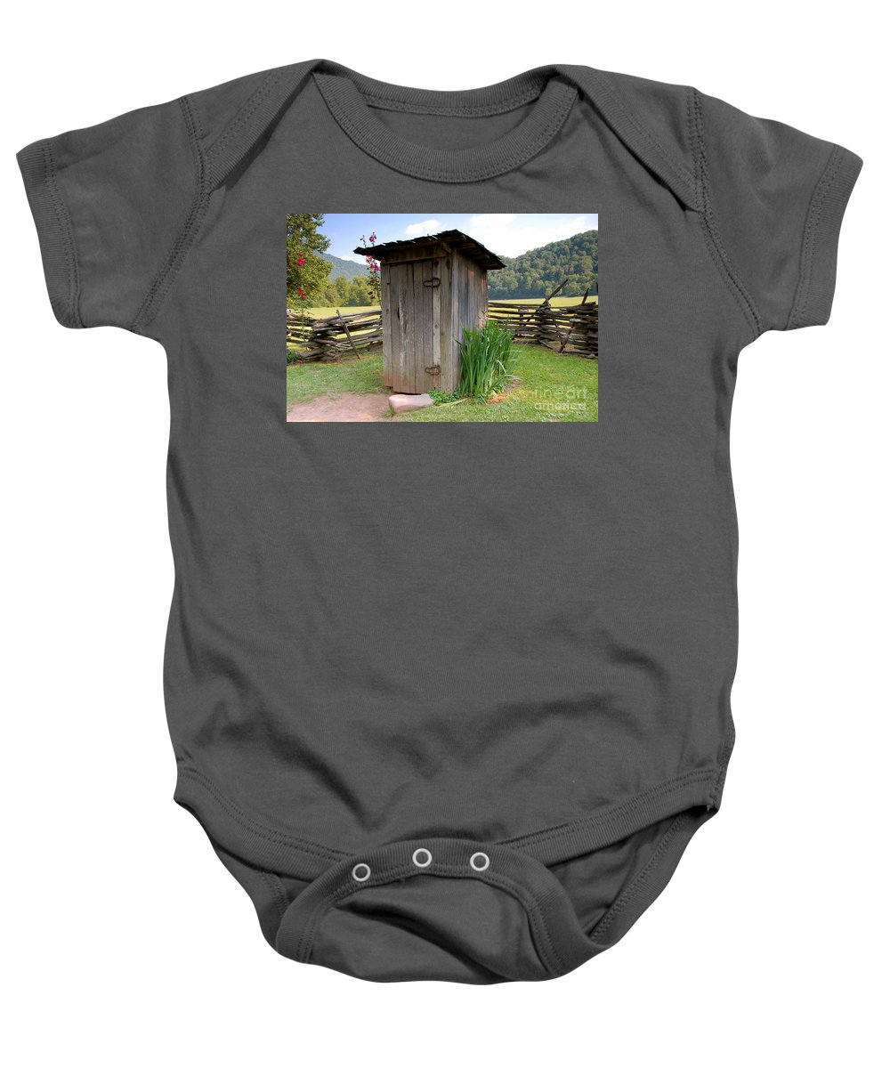 Outhouse Baby Onesie featuring the photograph Outhouse by David Lee Thompson