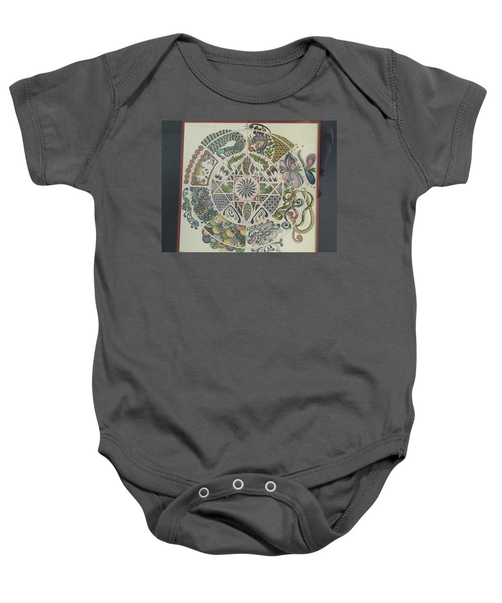 Abstract Baby Onesie featuring the drawing Outside The Mandala by Rebecca Bowman