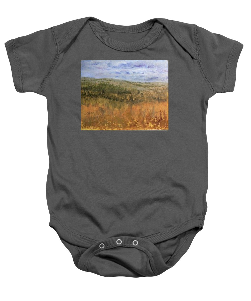 Overlook Baby Onesie featuring the painting Overlook On Sawbill Trail by Joi Electa