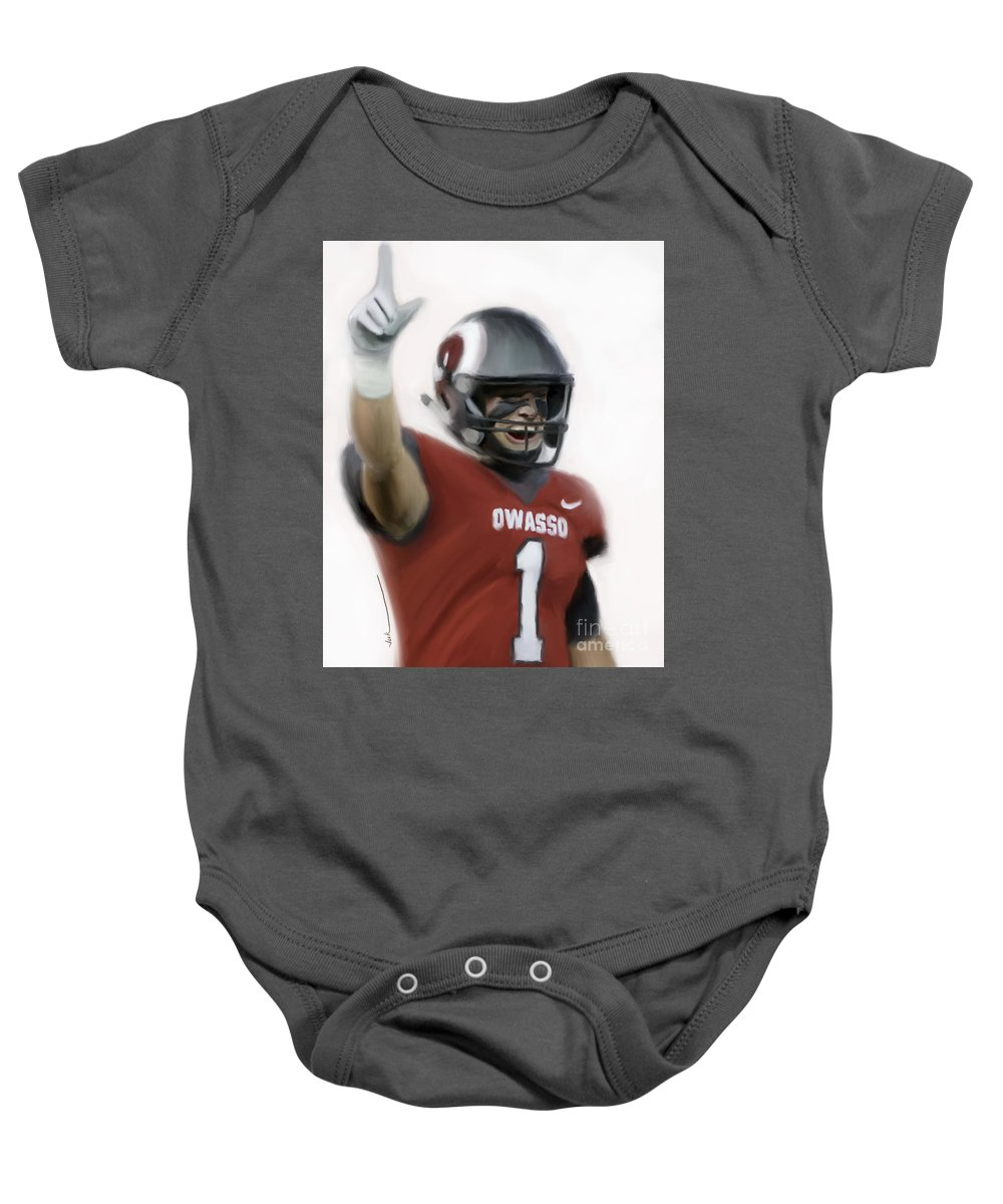 Baby Onesie featuring the painting Owasso Wins State by Jack Bunds