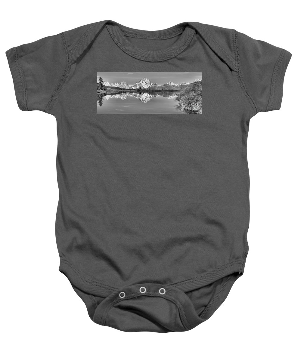Black And White Baby Onesie featuring the photograph Oxbow Bend Morning Black And White by Adam Jewell