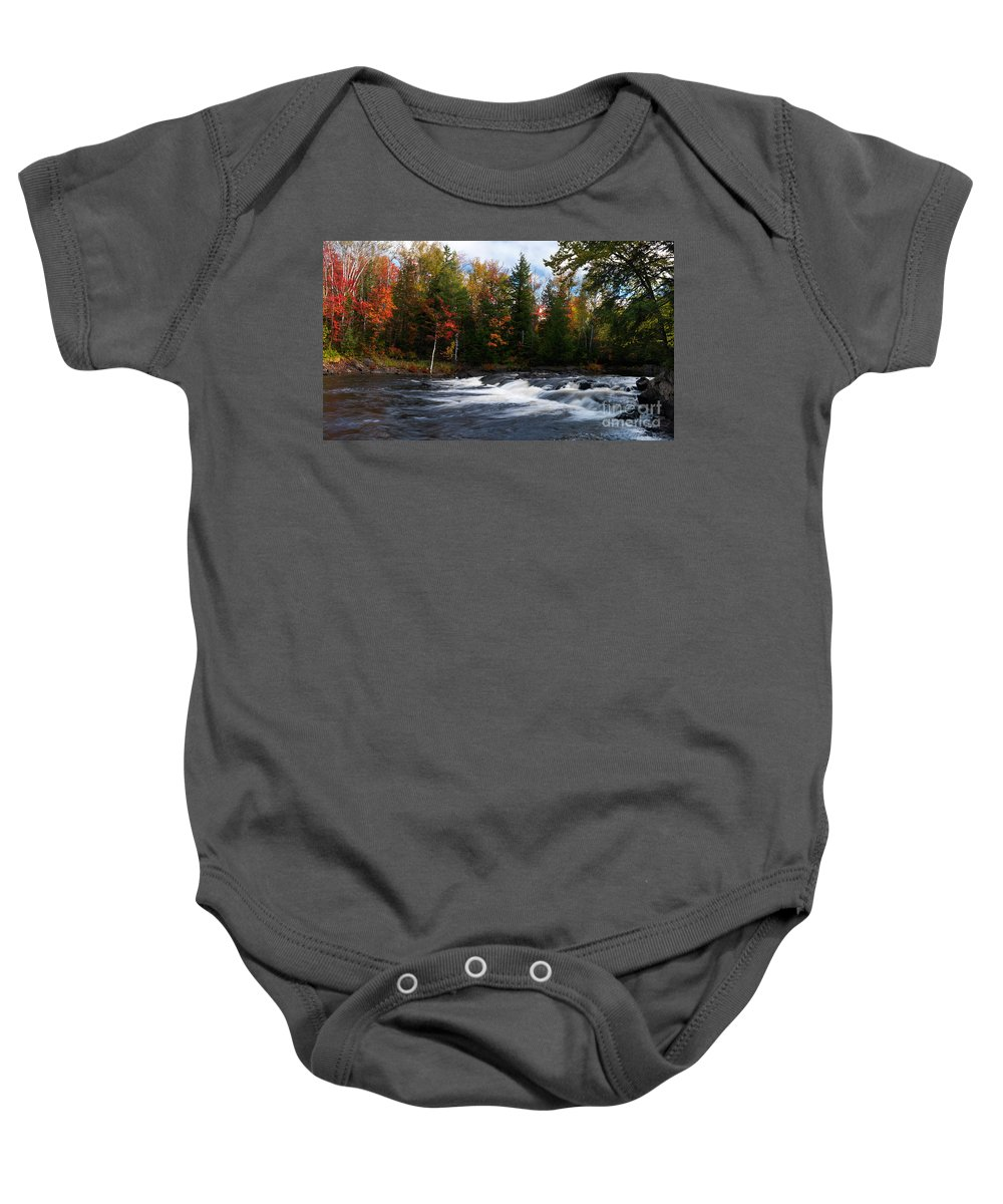 River Baby Onesie featuring the photograph Oxtongue River Ontario Autumn Scenery by Oleksiy Maksymenko