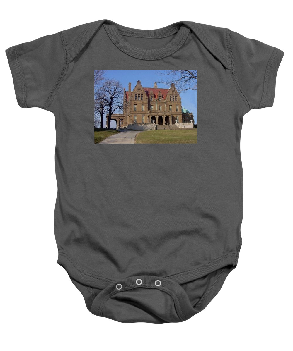 Pabst Mansion Baby Onesie featuring the photograph Pabst Mansion Photo by Anita Burgermeister
