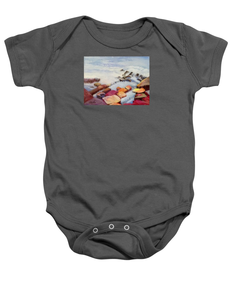 Seascape Baby Onesie featuring the painting Pacific Coastline by Nancy Shen
