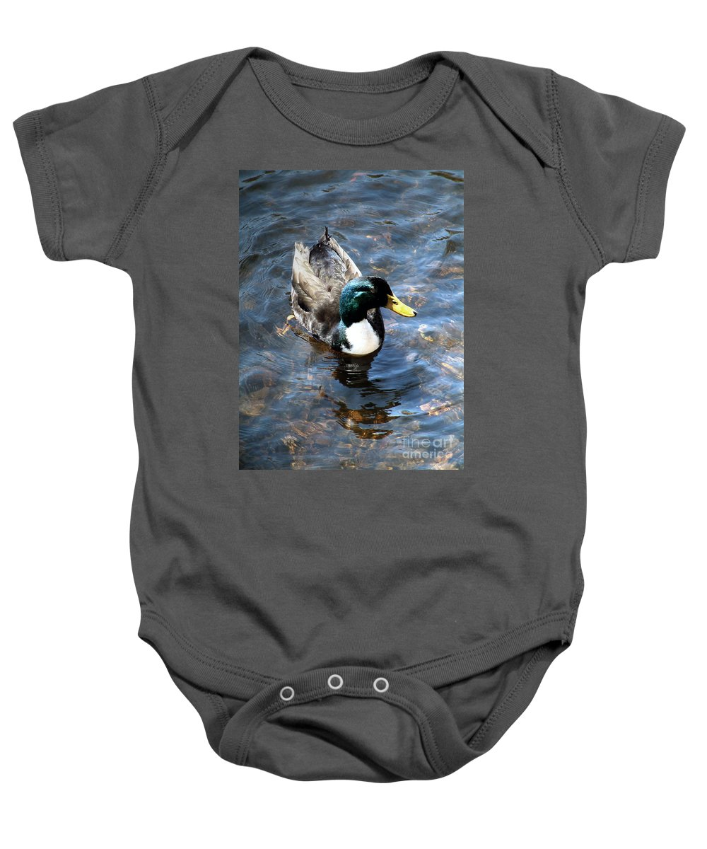 Drake Baby Onesie featuring the photograph Paddling Peacefully by RC DeWinter