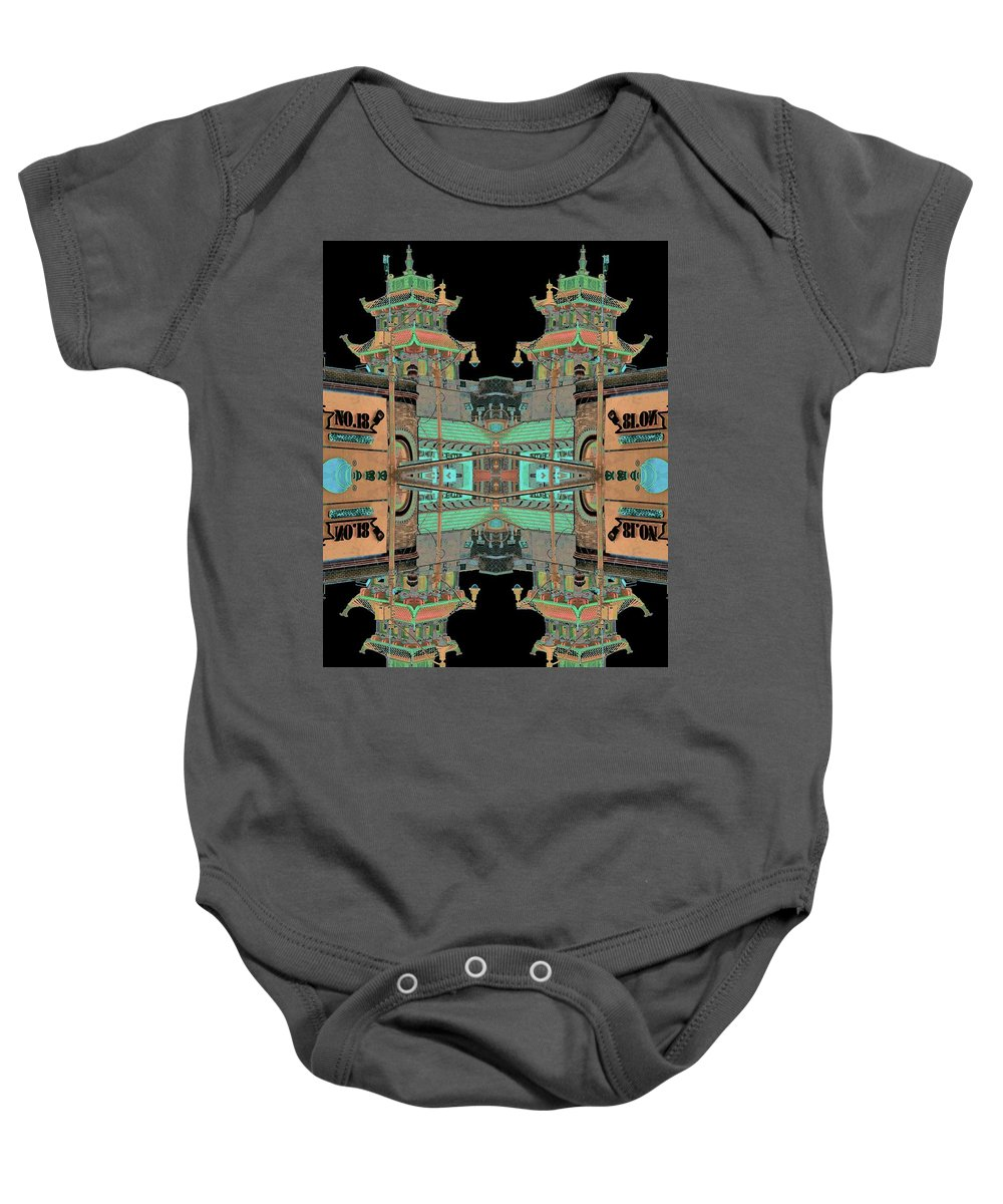 China Town Baby Onesie featuring the photograph Pagoda Tower Becomes Chinese Lantern 1 Chinatown Chicago by Marianne Dow