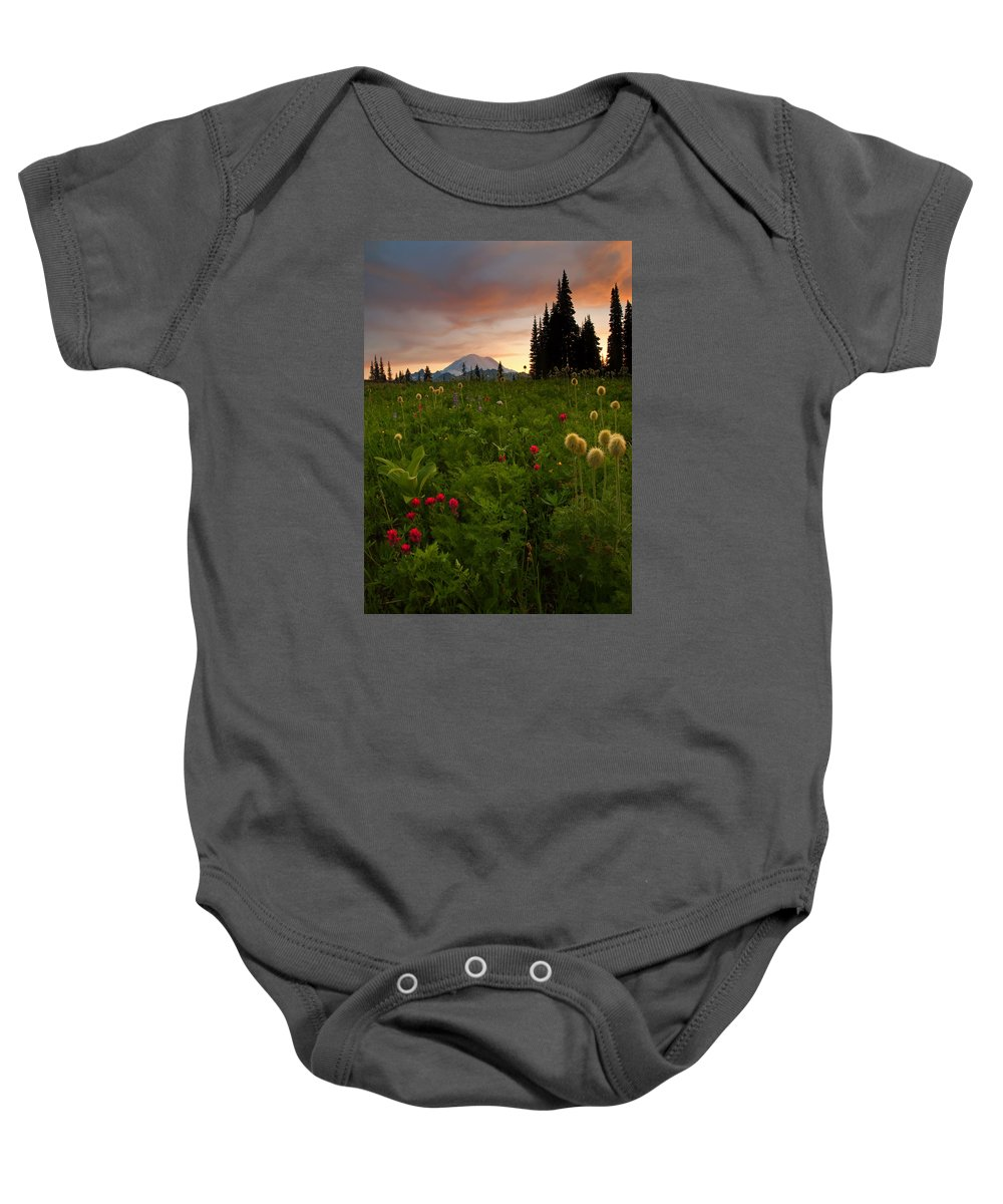 Sunset Baby Onesie featuring the photograph Paintbrush Sunset by Mike Dawson
