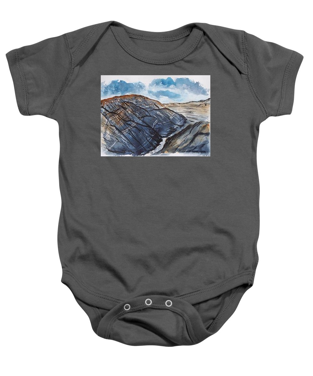 Plein Air Baby Onesie featuring the painting Painted Desert landscape mountain desert fine art by Derek Mccrea