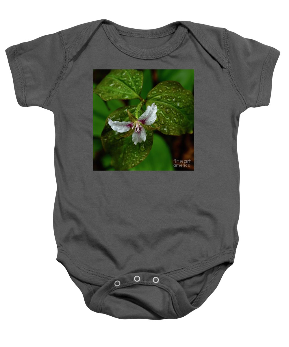Painted Trillium Baby Onesie featuring the photograph Painted Trillium In The Rain by Thomas R Fletcher