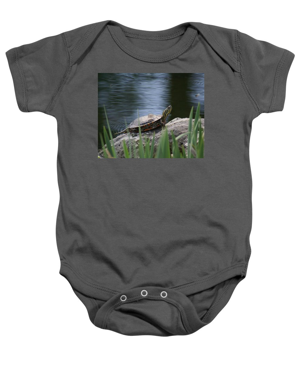 Spokane Baby Onesie featuring the photograph Painted Turtle by Ben Upham III