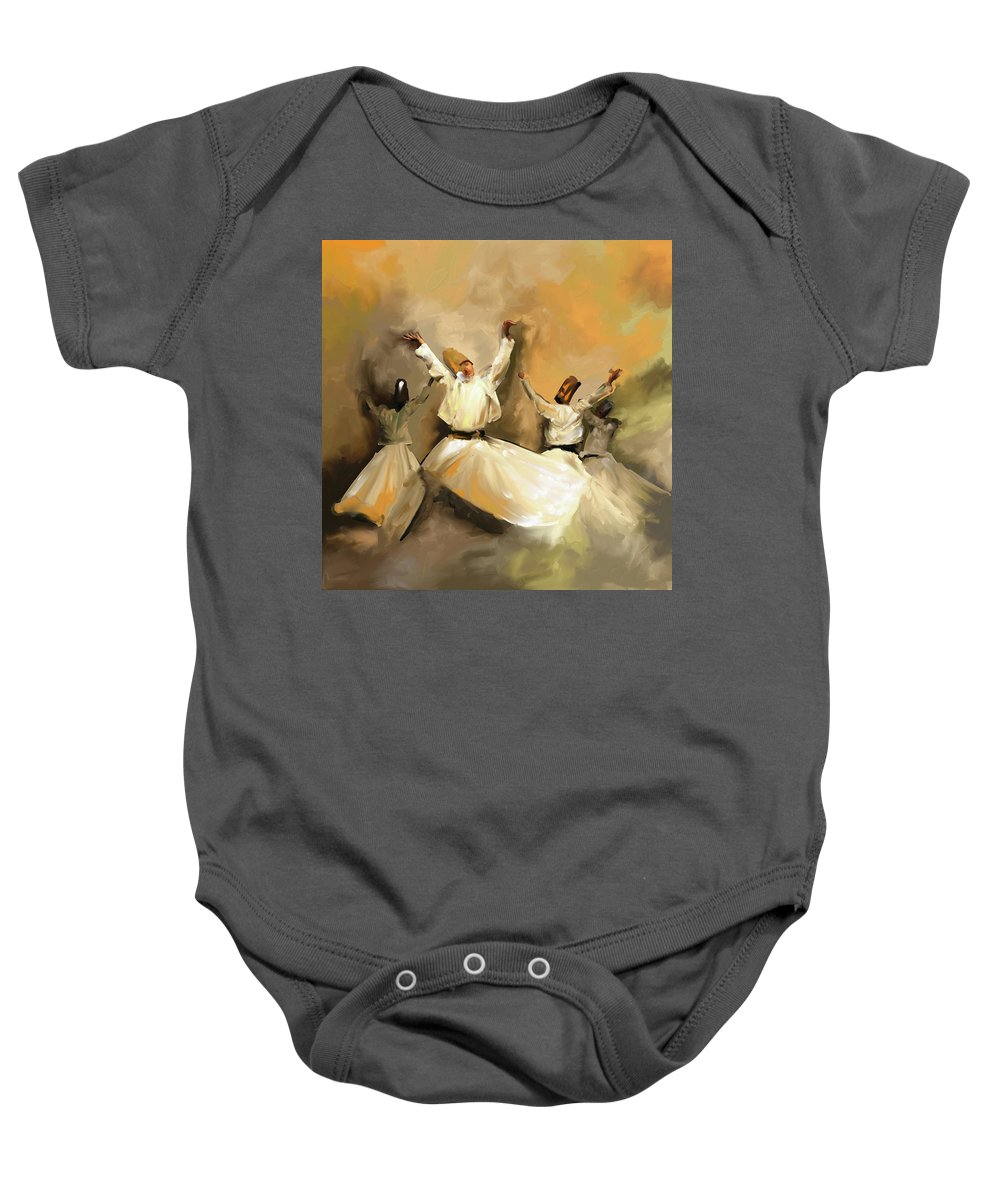 Tanoura Baby Onesie featuring the painting Painting 717 1 Sufi Whirl 3 by Mawra Tahreem