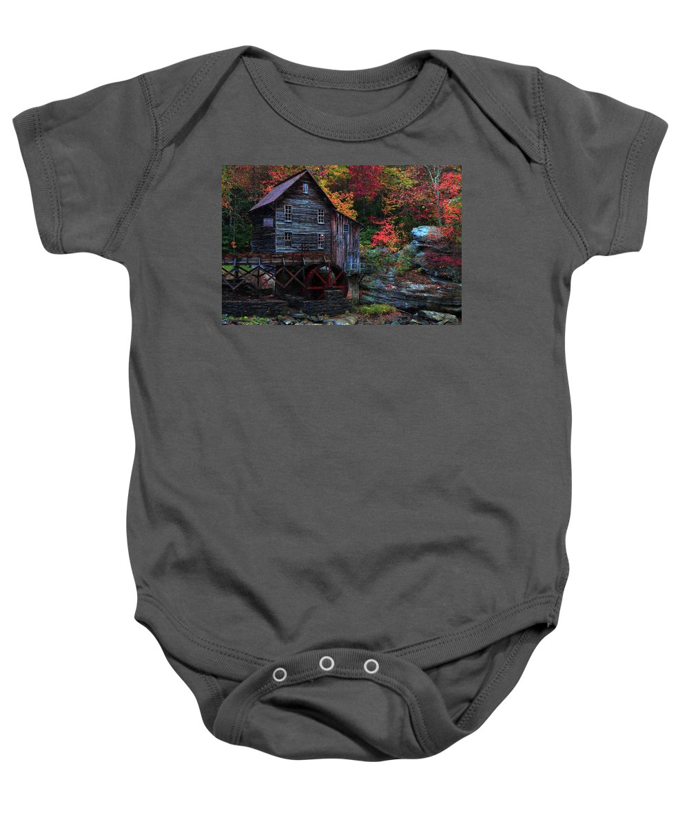 Glades Creek Grist Mill Baby Onesie featuring the photograph Painting Babcock State Park Glades Creek Grist Mill West Virginia by Carol Montoya