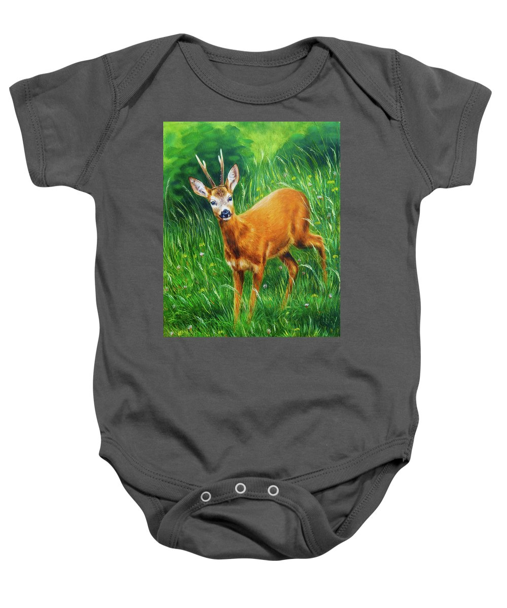 Animal Baby Onesie featuring the painting painting of young deer in wild landscape with high grass. Eye contact. by Jozef Klopacka