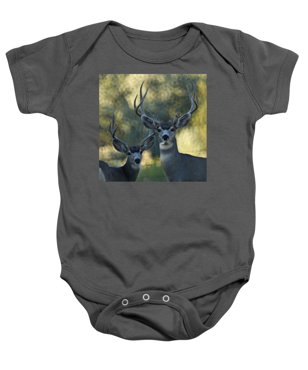 Deer Baby Onesie featuring the photograph Pair Of Bucks by Ernie Echols