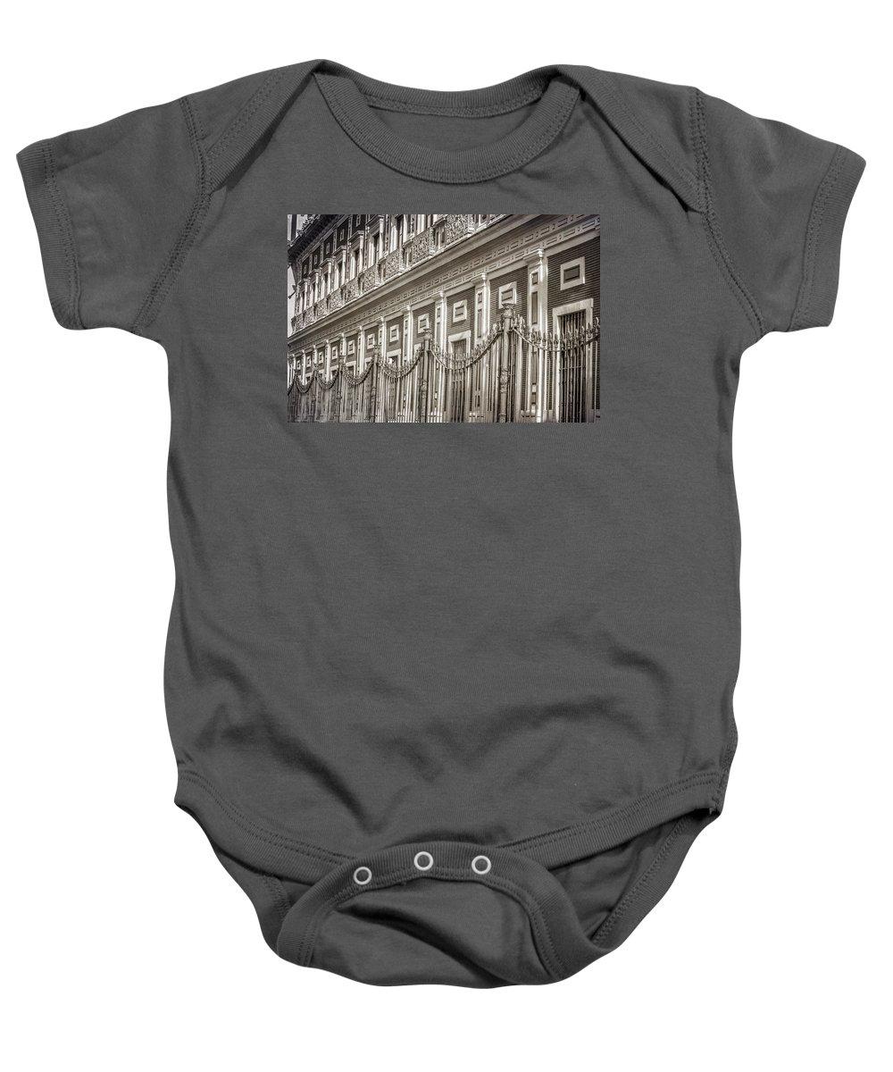 Joan Carroll Baby Onesie featuring the photograph Palacio De San Telmo Facade by Joan Carroll