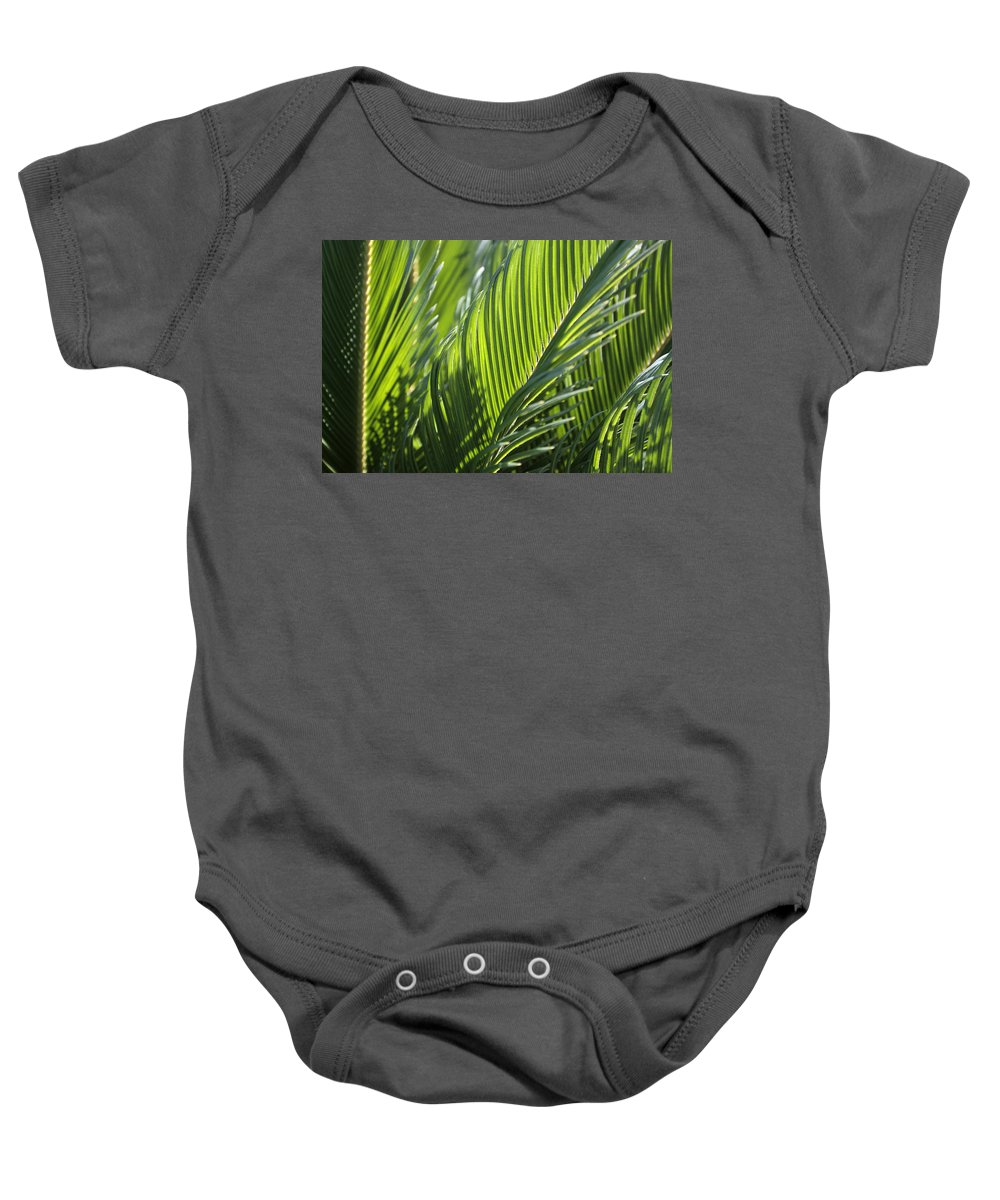 Palm Baby Onesie featuring the photograph Palm Leaf by Phil Crean