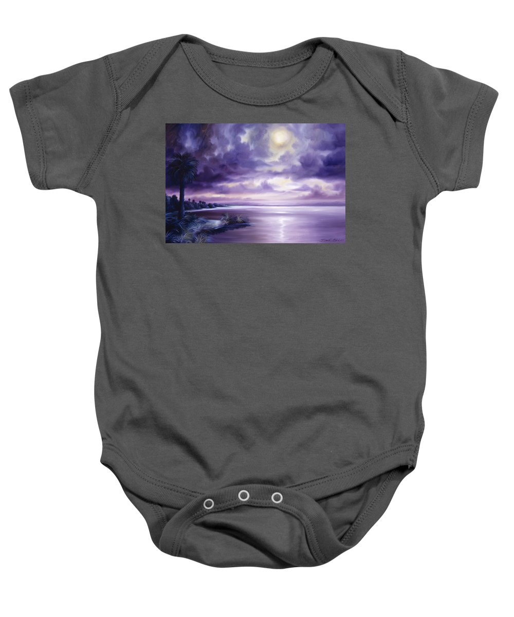 Moon Baby Onesie featuring the painting Palmetto Moonscape by James Christopher Hill