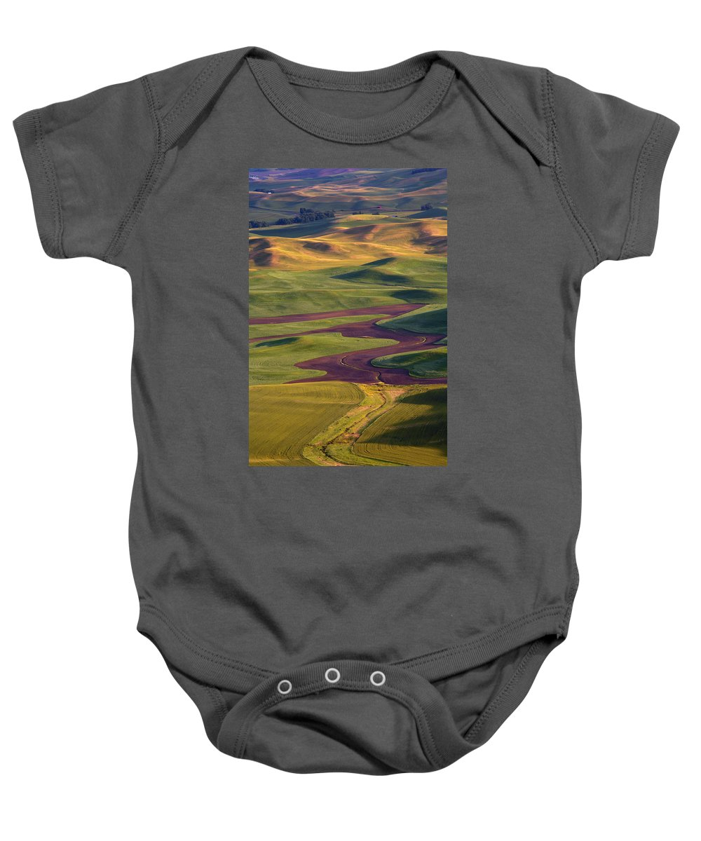 Palouse; Hills Baby Onesie featuring the photograph Palouse Hills by Mike Dawson
