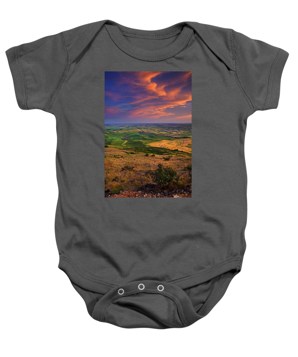Palouse Baby Onesie featuring the photograph Palouse Skies Ablaze by Mike Dawson