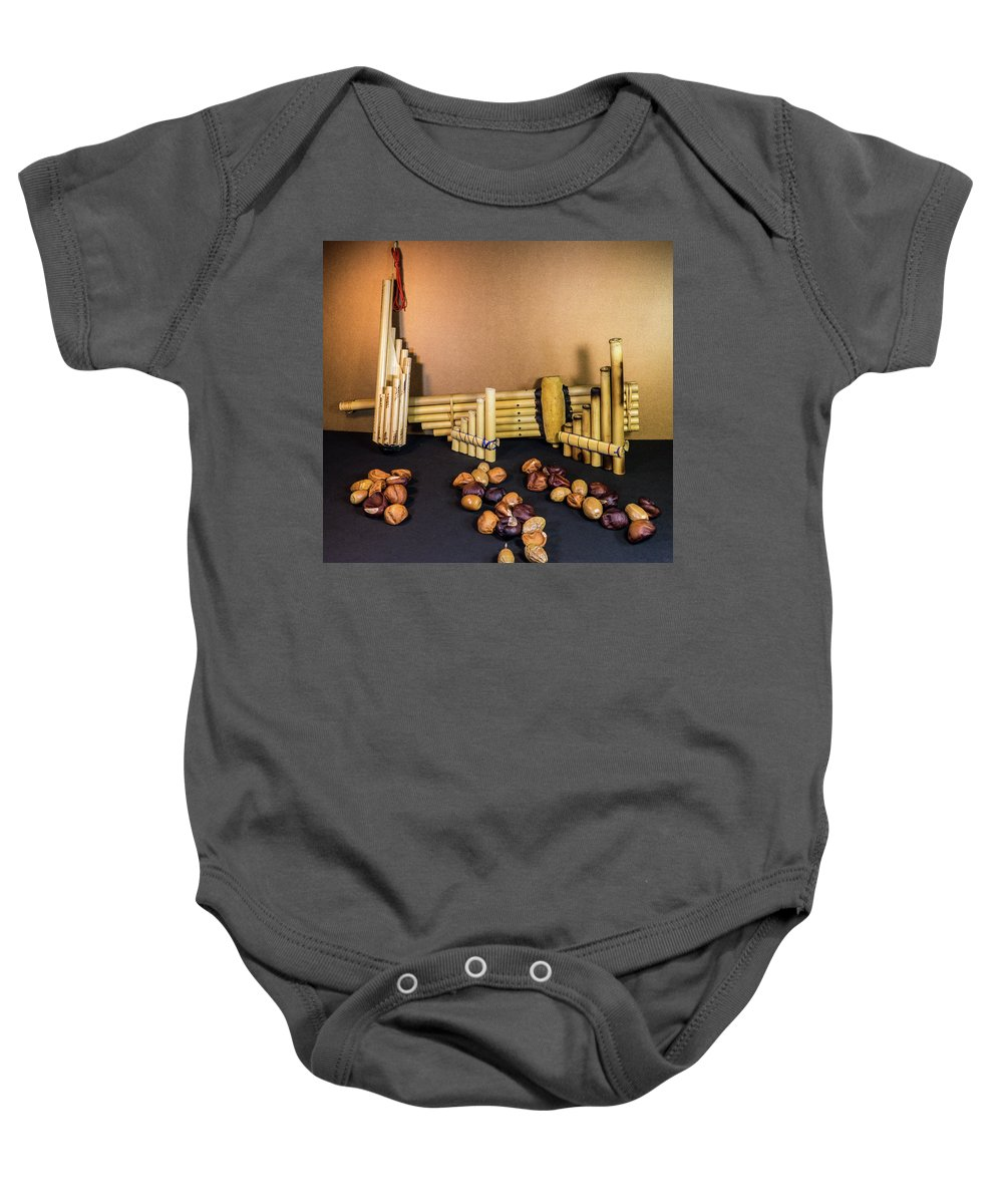 Pan Baby Onesie featuring the photograph Pan Flutes And Buckeyes by Douglas Barnett