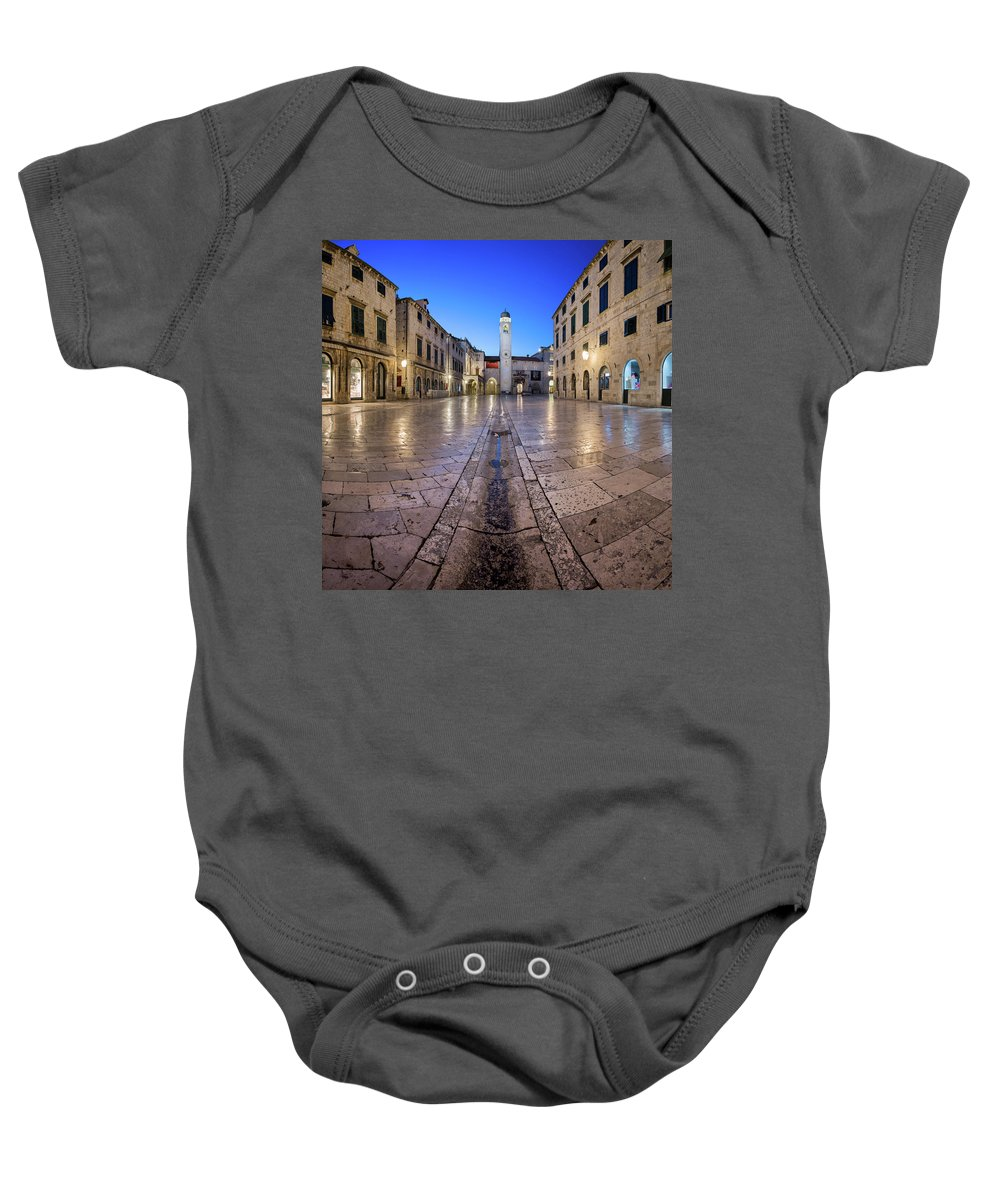 Adriatic Baby Onesie featuring the photograph Panorama Of Stradun Street And Luza Square In Dubrovnik, Dalmati by Andrey Omelyanchuk