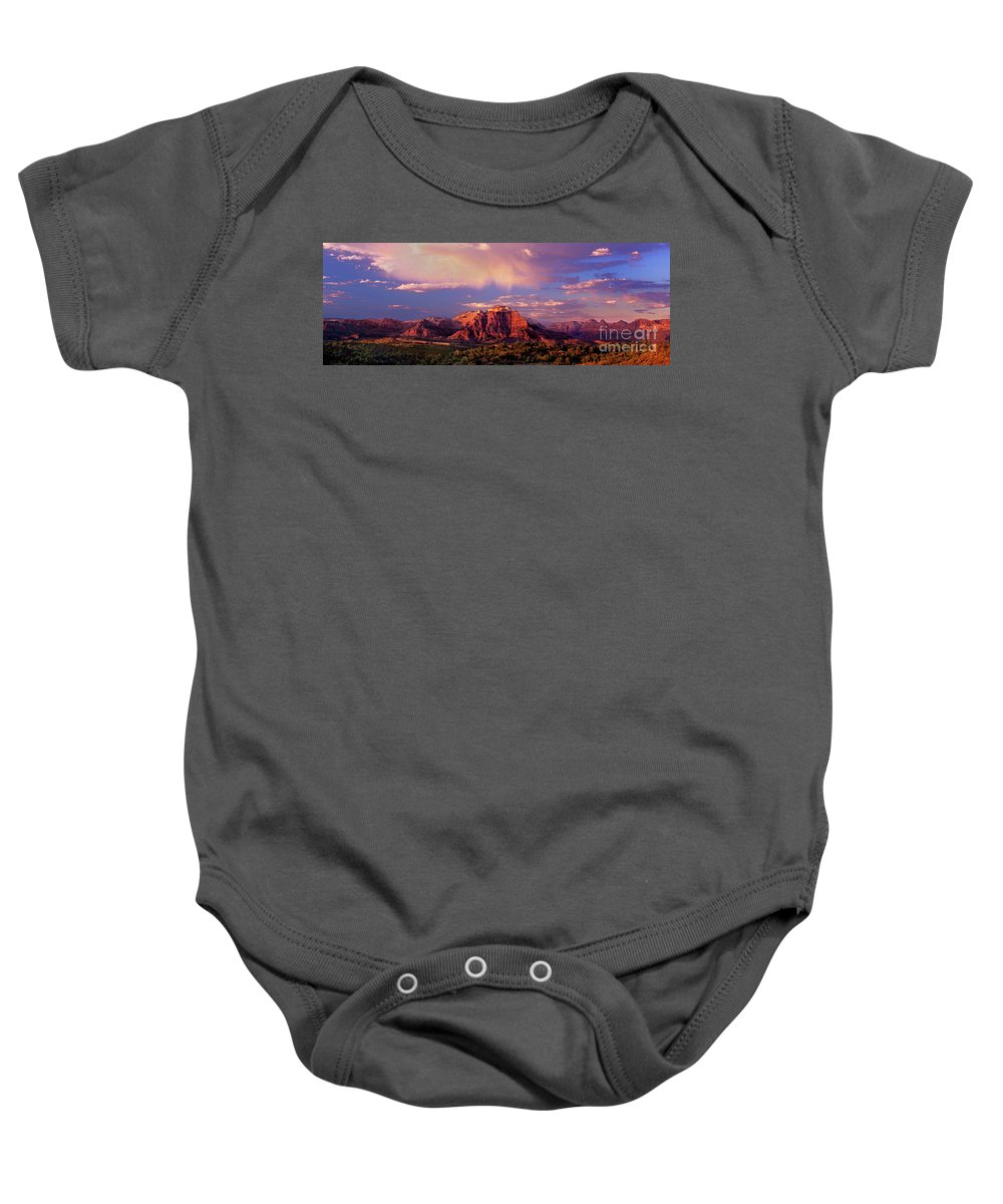 North America Baby Onesie featuring the photograph Panorama West Temple At Sunset Zion Natonal Park by Dave Welling