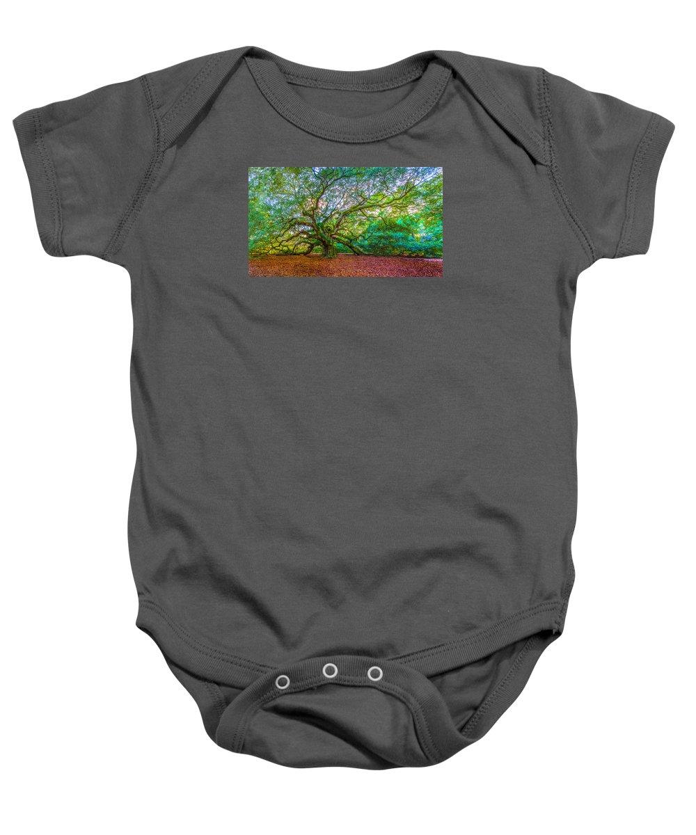 Angel Oak Tree Baby Onesie featuring the photograph Panoramic Angel Oak Tree Charleston Sc by John McGraw