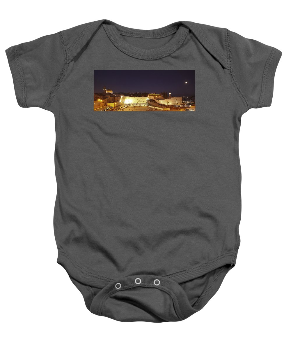 Israel Baby Onesie featuring the photograph Panoramic Night View Of The Wailing Wall by Alon Meir