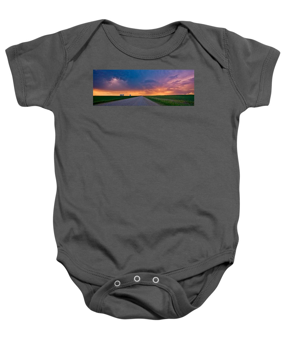 Baby Onesie featuring the digital art Panoramic Prairie Lightning Storm by Mark Duffy
