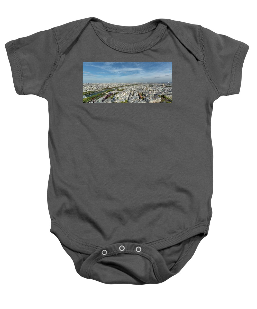 Color Photography Baby Onesie featuring the photograph Panoramic View Of Paris From The Top Of The Tower by Sanchez PhotoArt