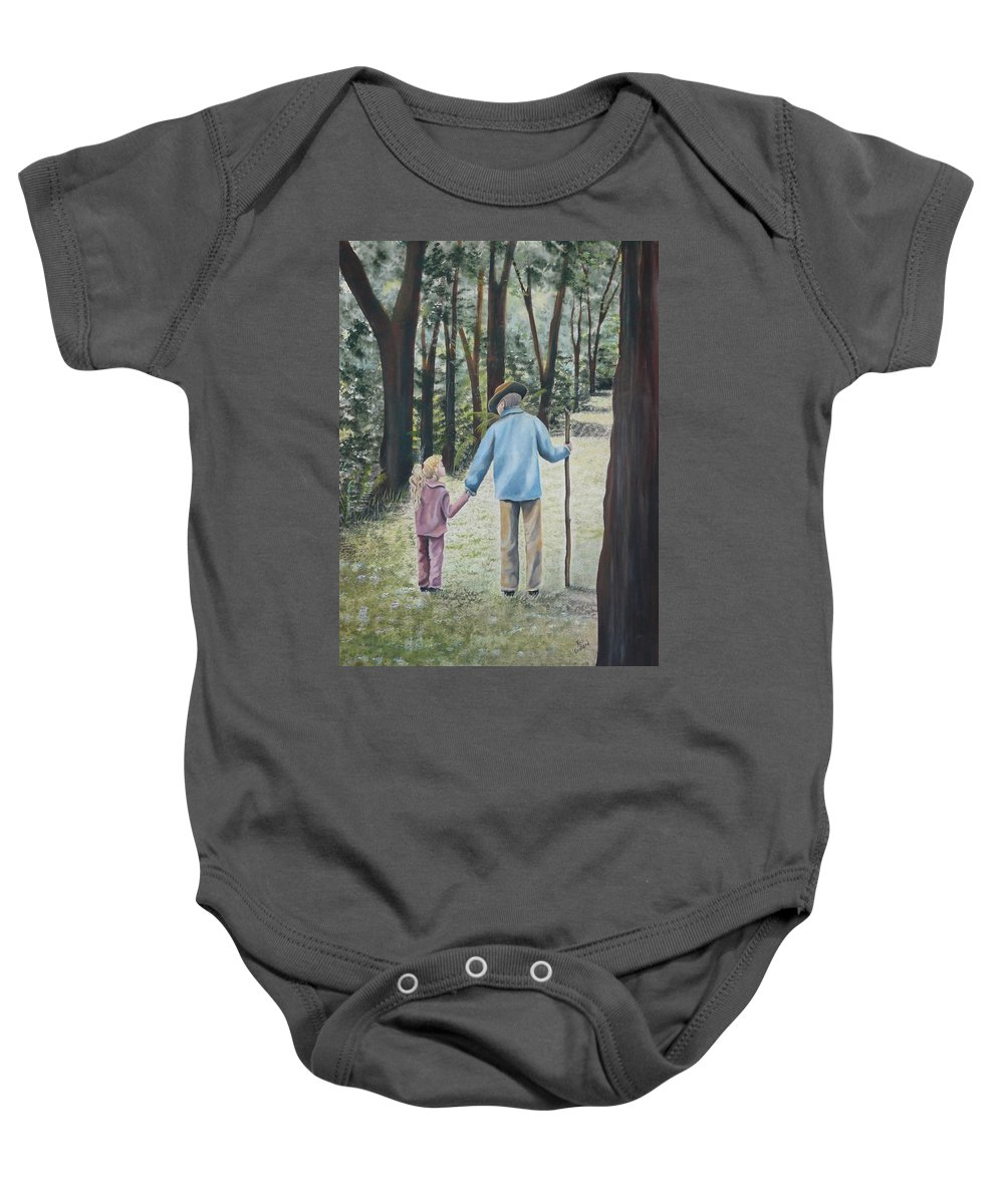 Grandfather Baby Onesie featuring the painting Papa by Kris Crollard