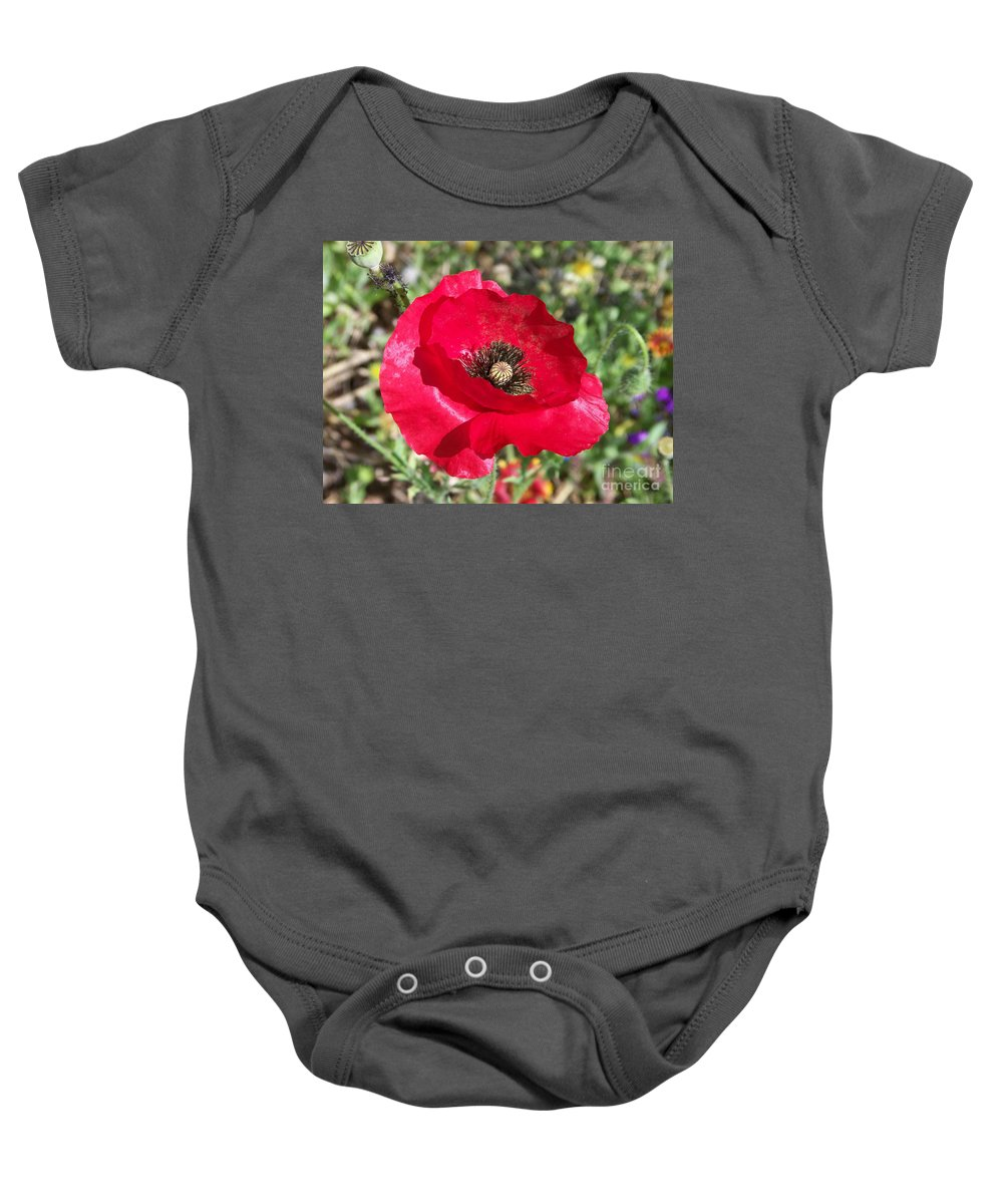 Red Baby Onesie featuring the photograph Paper Flower by Kathy McClure