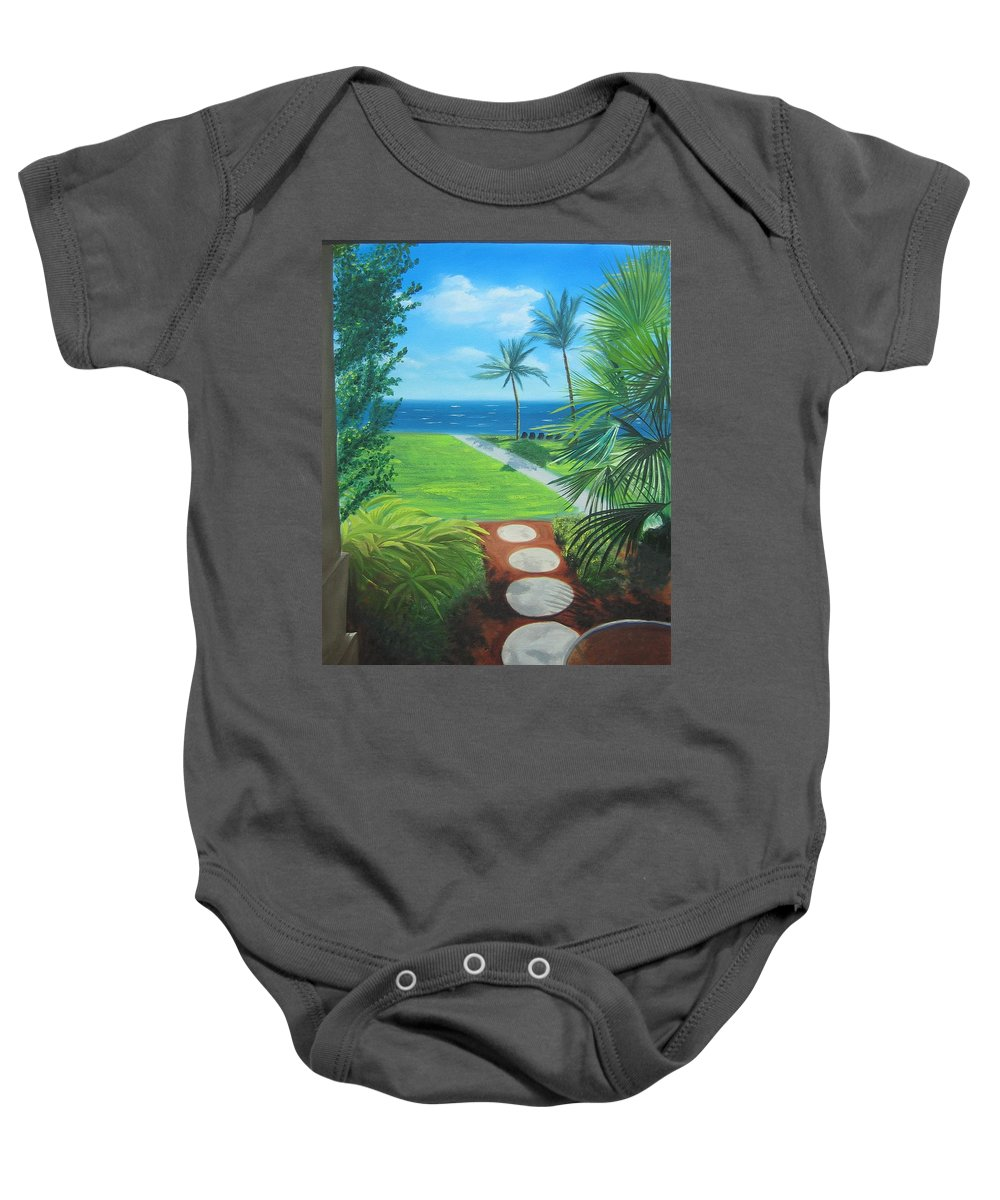 Seascape Baby Onesie featuring the painting Paradise Beckons by Lea Novak