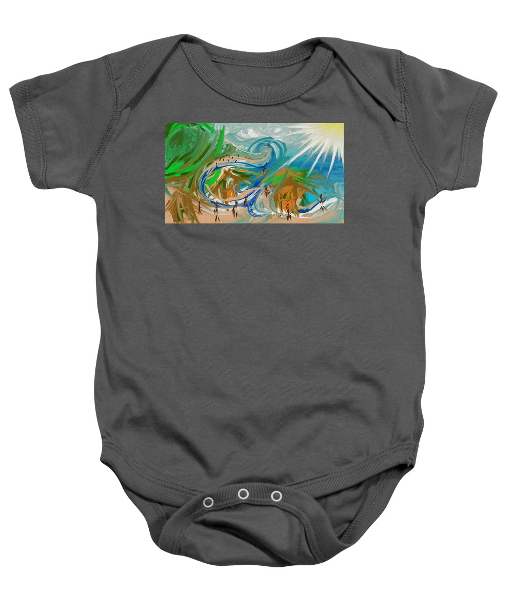Abstract Baby Onesie featuring the digital art Paradise by Lawrence Saunders