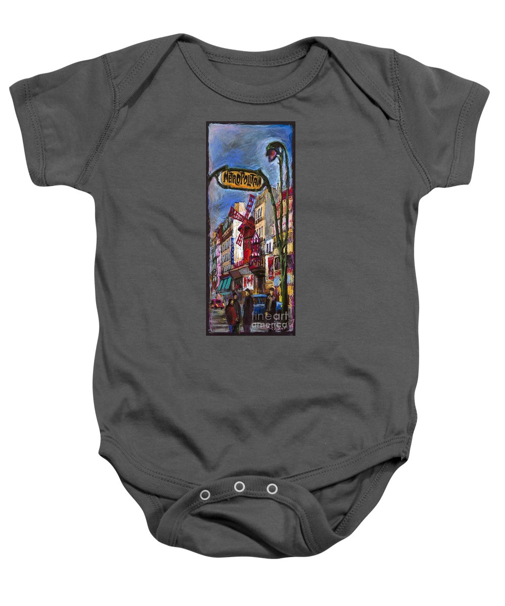 Cityscape Baby Onesie featuring the painting Paris Mulen Rouge by Yuriy Shevchuk