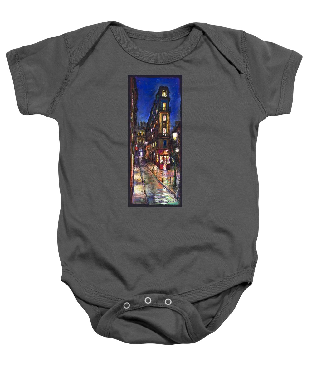Landscape Baby Onesie featuring the painting Paris Old Street by Yuriy Shevchuk