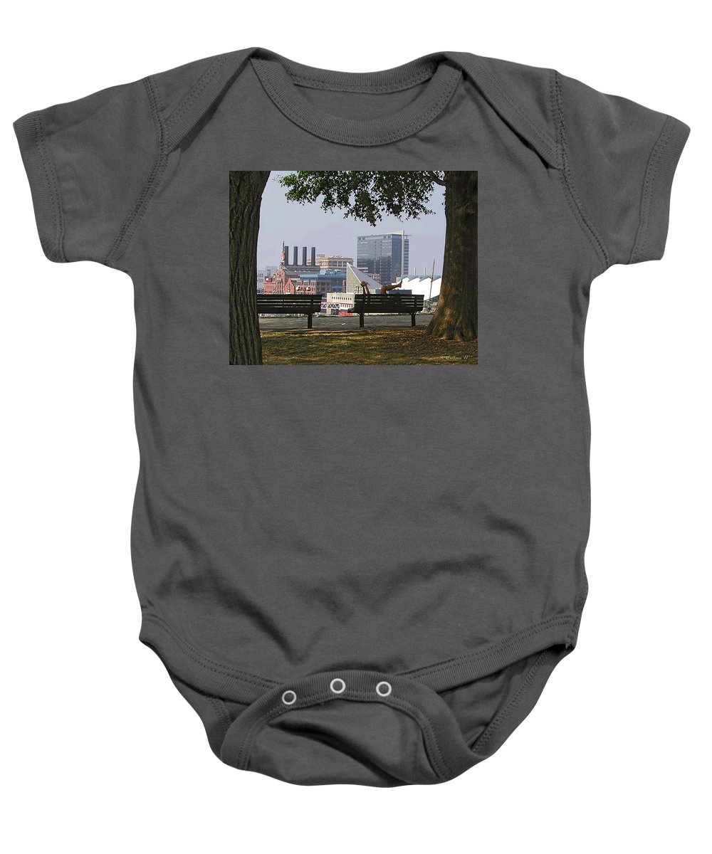 2d Baby Onesie featuring the photograph Park Bench Reading by Brian Wallace