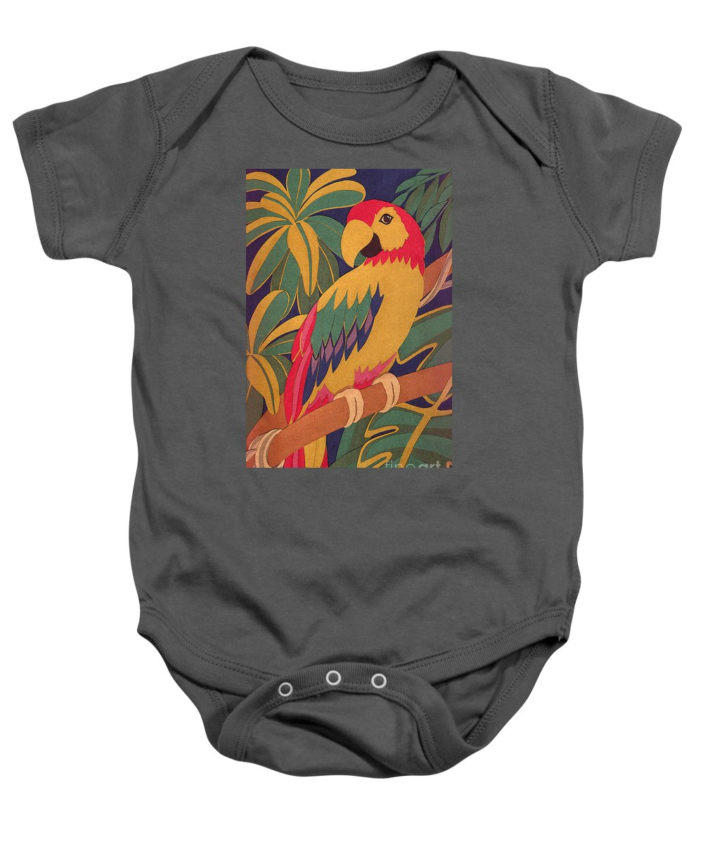 Nature Baby Onesie featuring the drawing Parrot by Lucyna A M Green