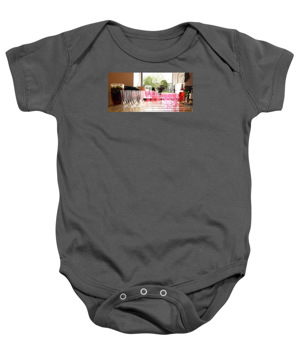 Glass Baby Onesie featuring the photograph Party Drinks by Terri Waters