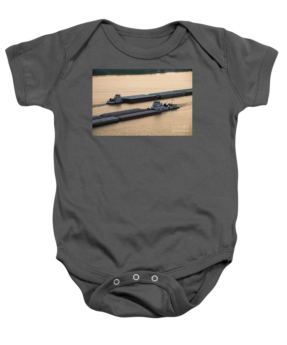 Barge Baby Onesie featuring the photograph Passing Barges by Brenda Gray